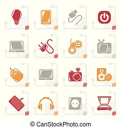 Stylized Electronic Devices objects icons