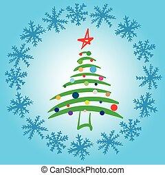 stylized, elegant, fir-boom, sneeuw