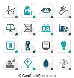 stylized, elektriciteit, energie, macht, iconen