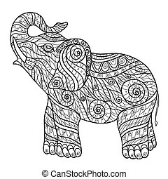 Zentangle - Stylized elephant in a graphic style, vector...