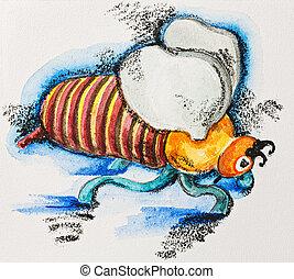 stylized, engraçado, slate-pencil, abelha, gorda, aquarela, listrado, quadro