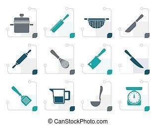 stylized, equipamento, cozinhar, ferramentas, ícones