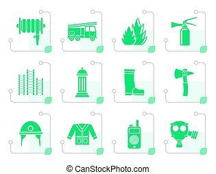 stylized, equipamento, fire-brigade, ícone, bombeiro