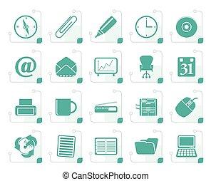 stylized, escritório, ferramentas, ícones