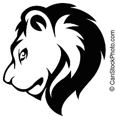 Stylized face of lion isolated