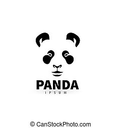 Stylized face panda logo design template. Artistic animal silhouette. Creative concept logotype for your company. Vector illustration.