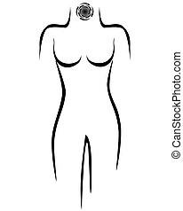 Stylized female body with cancer