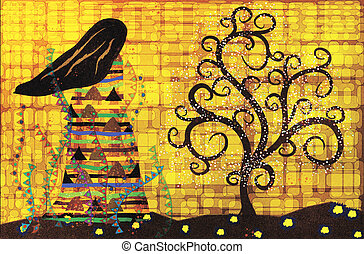 stylized female figure looks at magic tree, abstract illustration in the style of Gustav Klimt