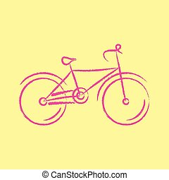 stylized, fiets, vector, illustratie