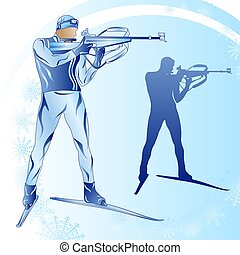Stylized figure of a biathlonist on a blue background
