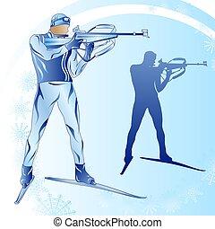 Stylized figure of a biathlonist on a blue background