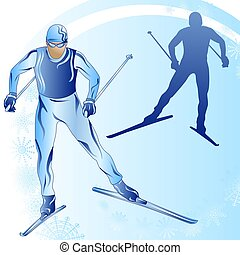 Stylized figure of a skier on a blue background