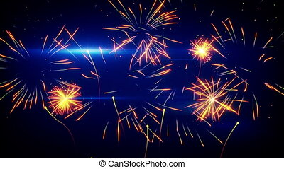 stylized fireworks. computer generated seamless loop animation