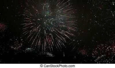 Multiple fireworks, footage abstract background