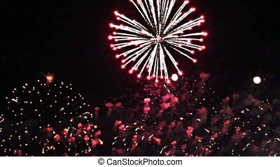 stylized fireworks video clip - Multiple fireworks, footage...