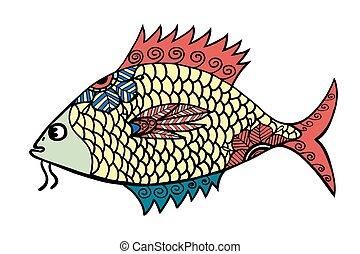 stylized Fish - Zentangle stylized Fish. Hand Drawn doodle...