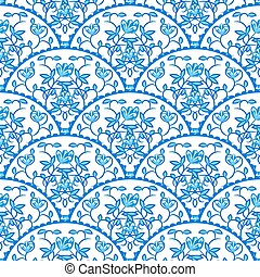 Stylized fish scale japan seamless pattern. Flower branches swirls in blue colors.