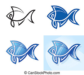 Stylized fish set.