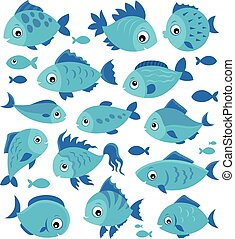 Stylized fishes theme set 3