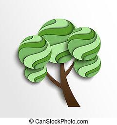 stylized, fjäder, träd