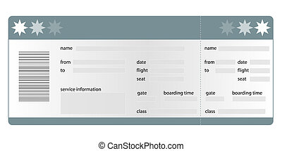 Stylized flight boarding pass. All on white background.