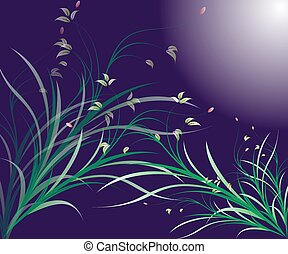 Stylized floral design element with flowers and swirls
