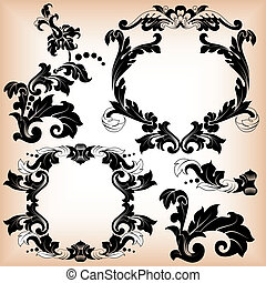 Stylized floral pattern and frame - Calligraphic...