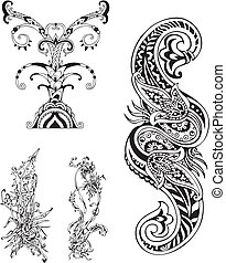 stylized, floral, vector, set, ornaments.