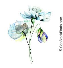 Stylized flower illustration - Stylized flowers watercolor ...