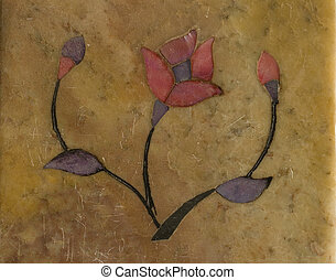 Stylized Flower inlaid in Stone Textured Background