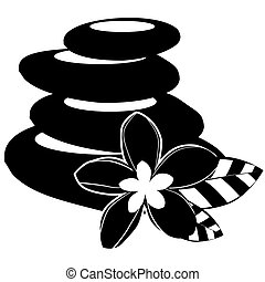 Stylized flowers and spa stones