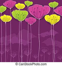 Stylized flowers card