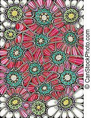 Stylized flowers drawing - Freehand drawing. Stylized...