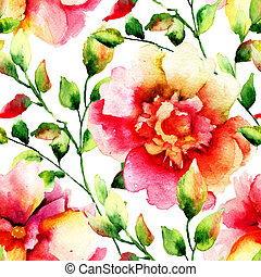 Stylized flowers illustration, watercolor painting