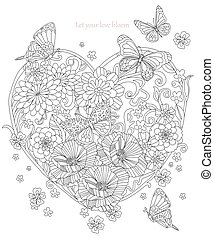 stylized flowers in the shape of a heart and flying butterflies