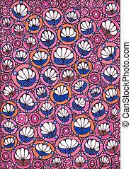Stylized flowers pattern - Freehand drawing. Stylized...