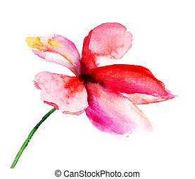 Stylized flowers, watercolor illustration