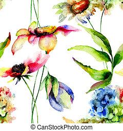 Stylized flowers watercolor illustration, seamless pattern