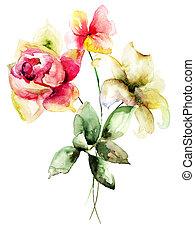 Stylized flowers watercolor illustration