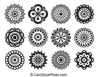 Stylized flowery design elements set