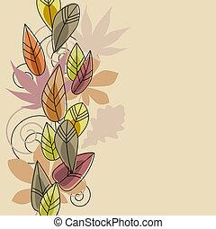 stylized, folhas, outono, experiência bege, contorno