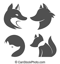 Stylized fox head. Vector silhouette isolated on white background. Icons set.