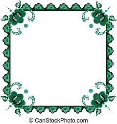 stylized, frame, bloemen