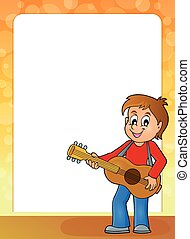 Stylized frame with boy guitar player