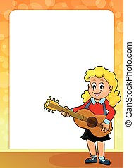 Stylized frame with girl guitar player