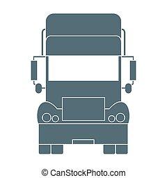 stylized, frente, caminhão, ícone