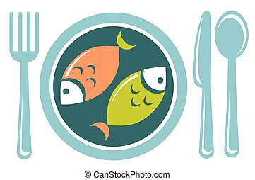 fried fish - Stylized fried fish and tableware isolated on a...