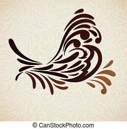 stylized, fugl, baggrund
