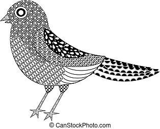 stylized, fugl, zentangle