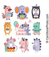 Stylized Funky Animals Birthday Celebration Sticker Set